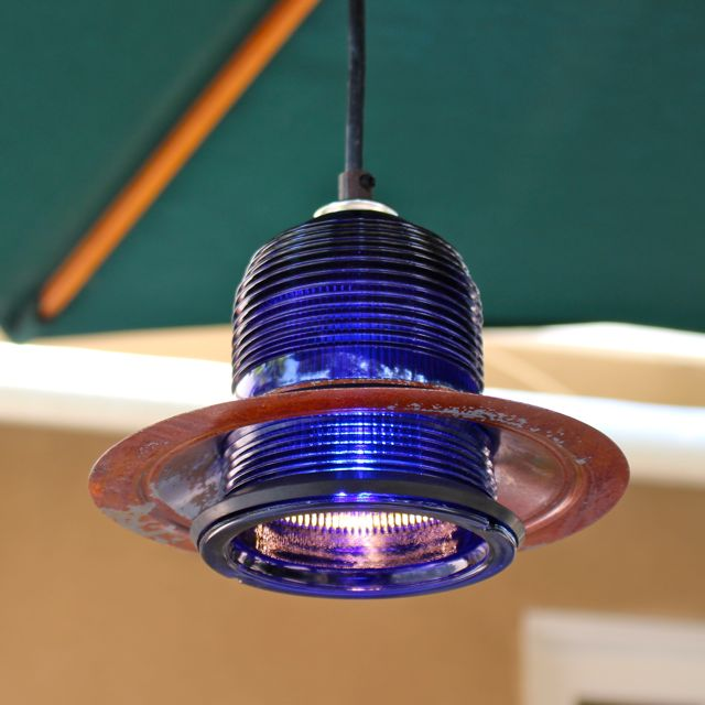 Led Rustic Light Blue Strapped Metal Pendant Light With Led: Runway Light Pendant ™(cobalt Blue) LED With Rusted Hood 7