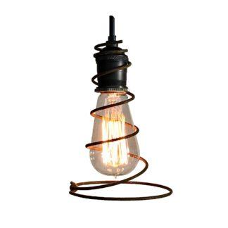 Cowboy Wire Spiral Lariat Pendant Edison Bulb