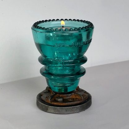 insulator votive candle holder blue