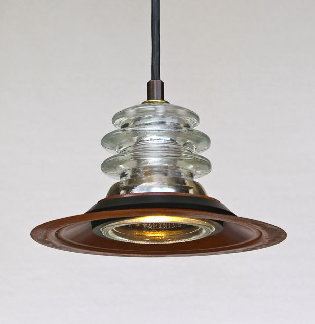 Insulator light led pendant armstrong 7 rusted metal for Insulator pendant light