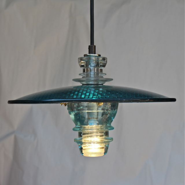 Led Rustic Light Blue Strapped Metal Pendant Light With Led: Insulator Light Pendant Lantern W/ Trafficlight Lens 12