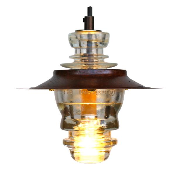 Insulator light pendant lantern w metal hood led 120v for Insulator pendant light