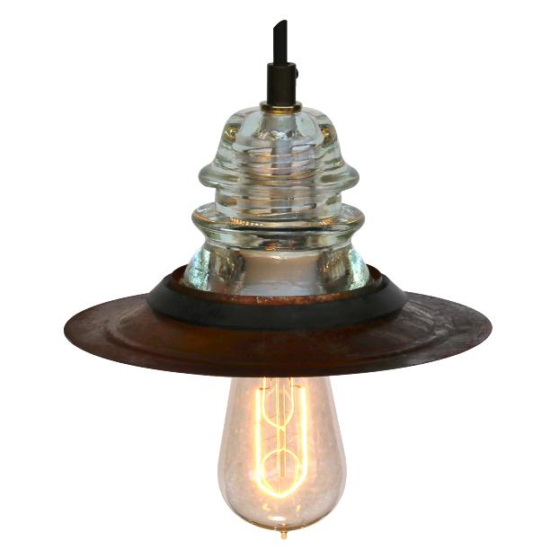 Insulator light pendant 7 rusted metal hood led120v 6 5w for Insulator pendant light