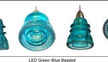LED Insulatorlight Pendant - Blue Green Beaded