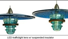 LED Insulatorlight Pendant - Trafficlight lens suspended Insulator