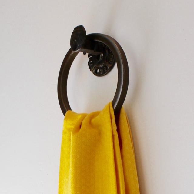 Railroad spike towel ring