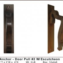 Rail Anchor Door Pull  2 W Escutcheon