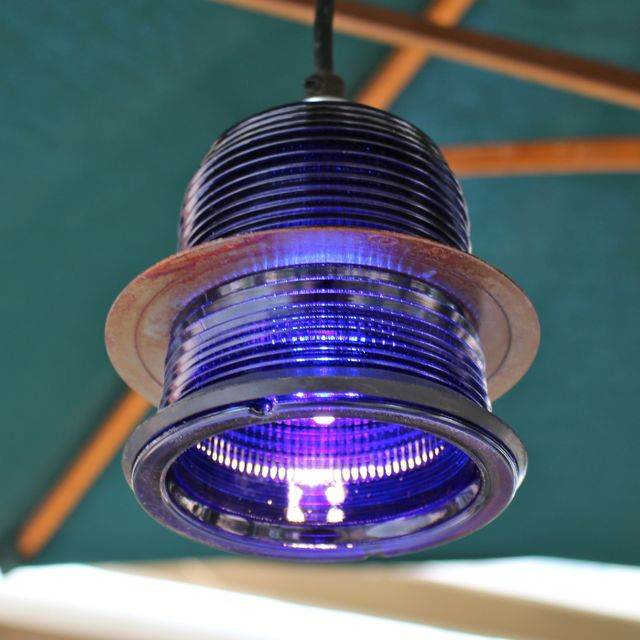 Led Rustic Light Blue Strapped Metal Pendant Light With Led: Runway Light Pendant ™ (cobalt Blue) LED With Rusted Ring