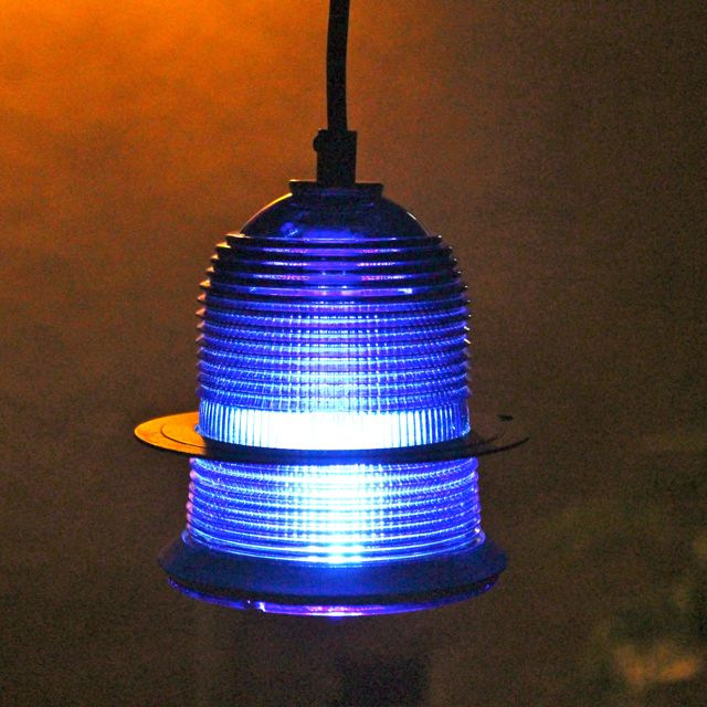 Runway Light Pendant Cobalt Blue Led With Rusted Ring