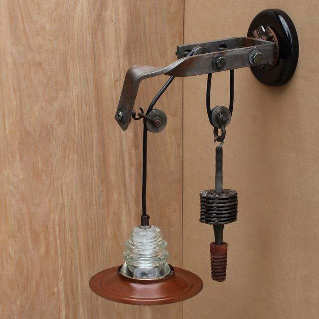 Telegraph pole bracket pulley light sconce 7 metal hood for Telephone insulator light fixture