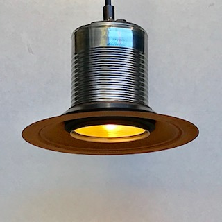 Corruguated can metal hood pendant