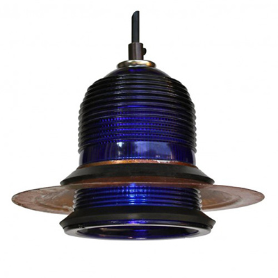 Runway Light Pendant ™(cobalt blue) LED with Rusted Hood 7″