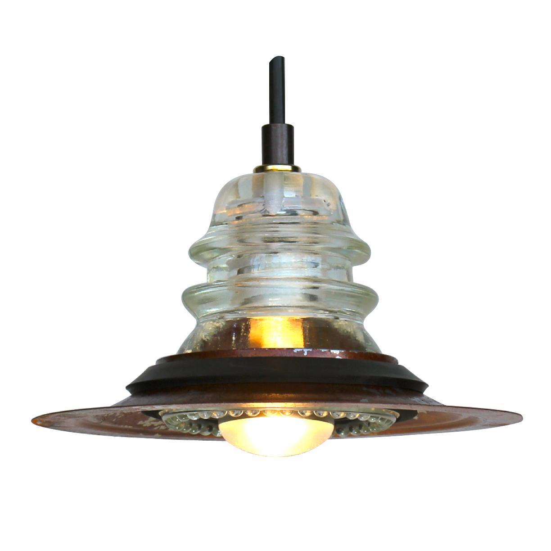 Insulator Light Pendant 7 Quot Rusted Metal Hood 120v 40w Bulb
