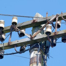 Ceramic Insulators on Telephone Pole