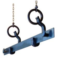 rail anchor pot & pan rack suspended