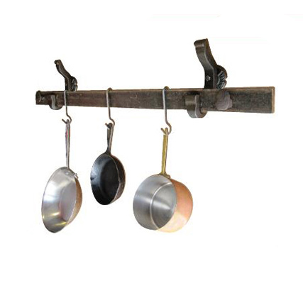 rail anchor pot rack system  wall mounted  railroadware,